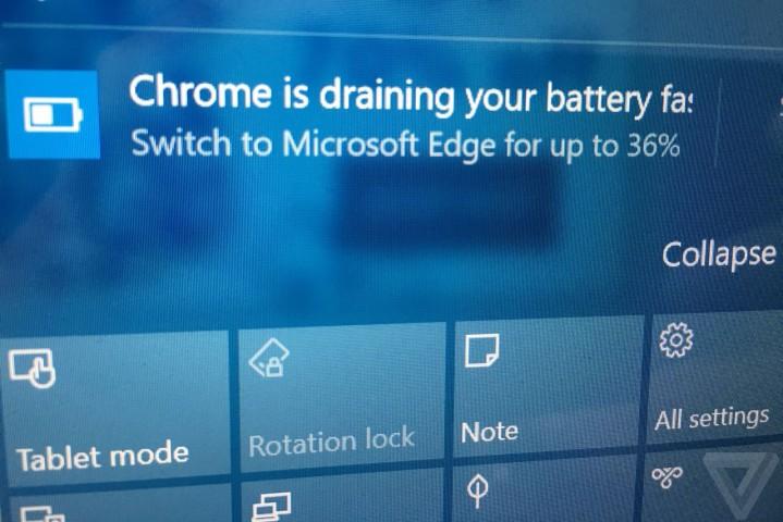 Windows 10'dan Chrome İçin Pil Ömrü Uyarısı