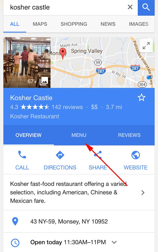 Google Restoran Menü